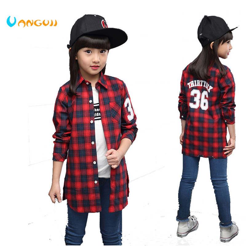 2017 spring and autumn hot fashion classic children long shirt 4-13 year old girl checkered letters 36 shirt