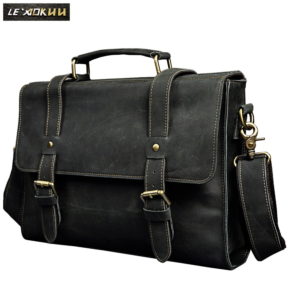 Le aokuu Men Real Leather Antique Style Coffee Briefcase Business 13 Laptop Cases Attache Messenger Bags