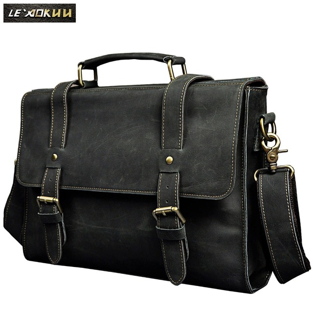 371ccc4f0dcc US $56.16 48% OFF|Le'aokuu Men Real Leather Antique Style Coffee Briefcase  Business 13