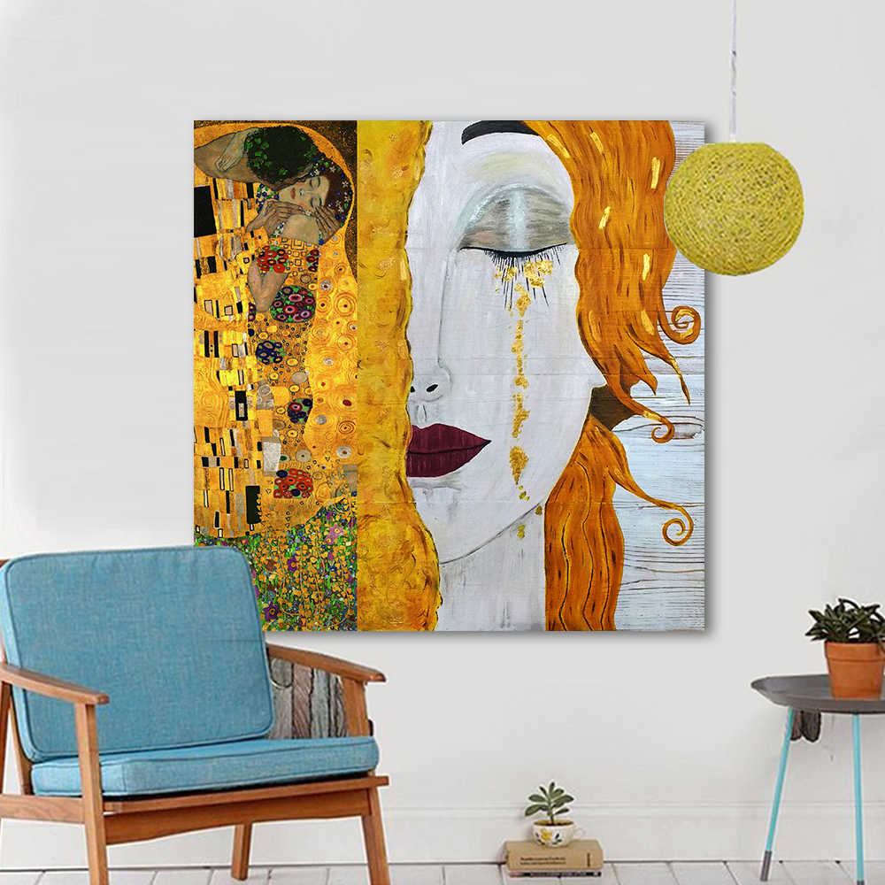 HDARTISAN Modern Oil Painting Canvas Art Abstract Gustav Klimt Golden Tears Wall Pictures For Living Room Home Decor Printed