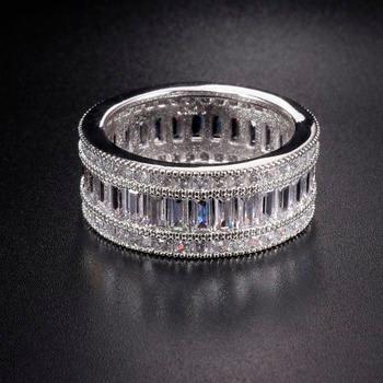 7d60f26d4e5b Lujoso párrafo de moda 925 anillo de piedras preciosas de plata esterlina  brillante cuadrado completo de