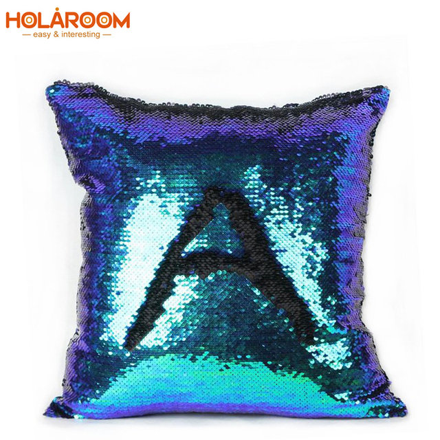 Magical color changing cushion cover reversible sequin mermaid sequin throw pillow case home decor pillows decorative