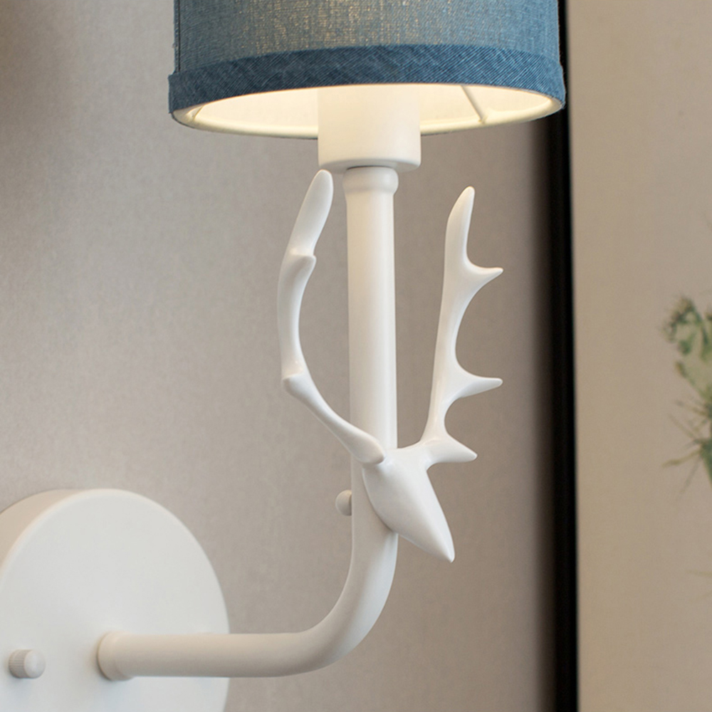 Nordic LED simple wall lamp lucky creative deer head fabric lampshade living room bedroom bedside lamp background lighting in LED Indoor Wall Lamps from Lights Lighting