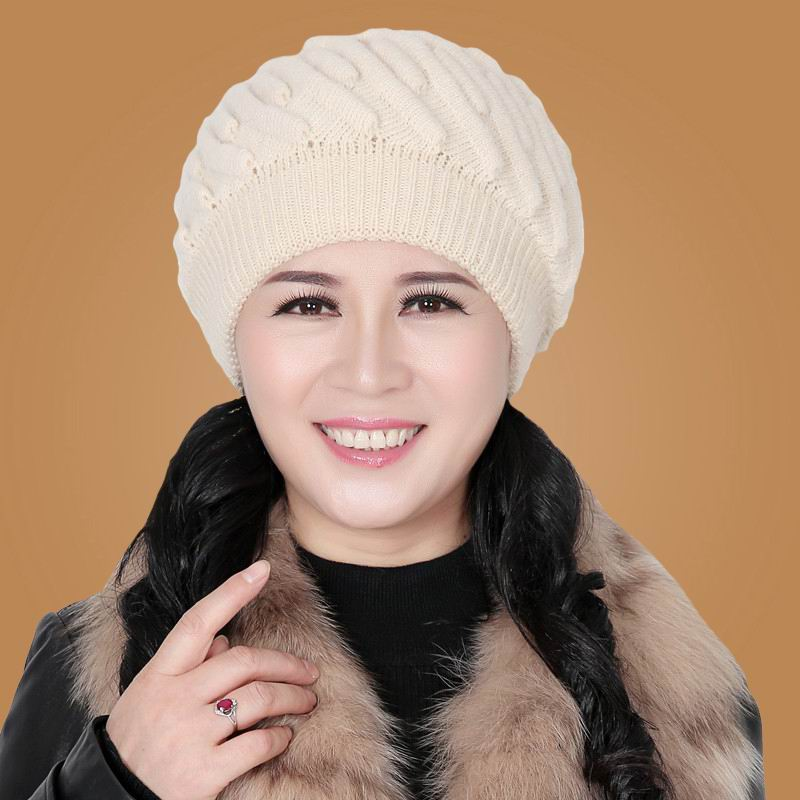 Thermal hat winter quinquagenarian women's ear knitted hat the elderly knitted hat autumn and winter seek thermal