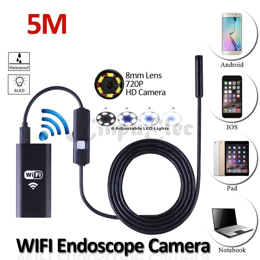imágenes para 8mm wifi iphone android endoscopio cámara hd720p 5 m ip67 impermeable inspección de la serpiente flexible usb animascopio de la cámara androide de la tableta