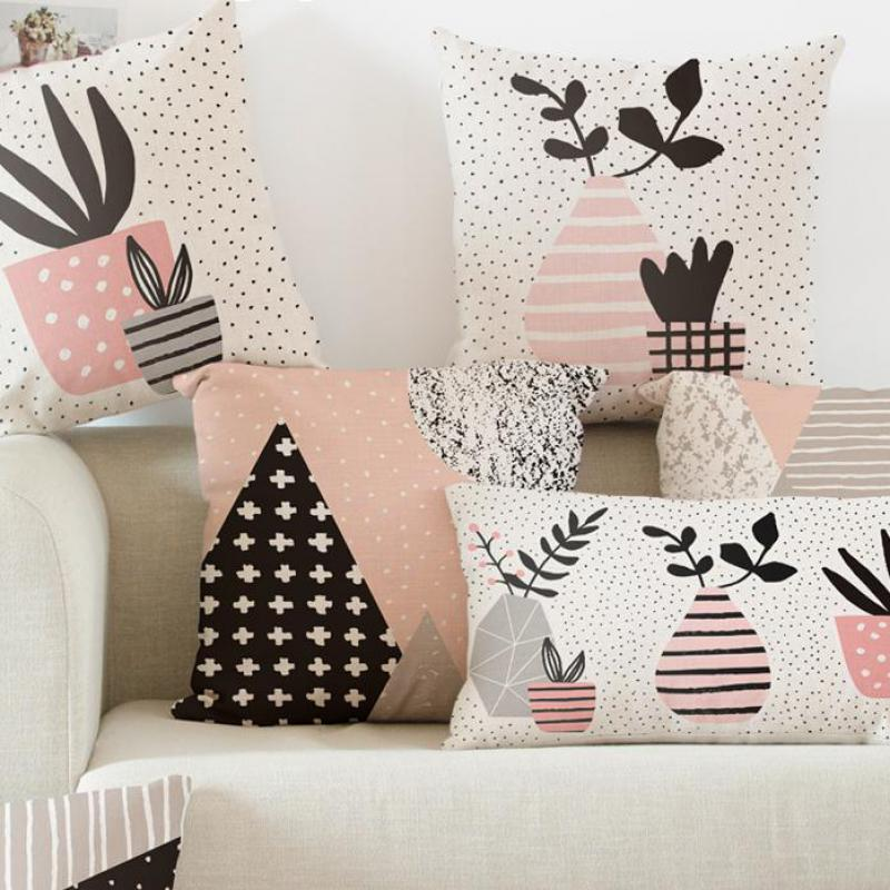 Pink Decoration Pot Plant Flower Cushion Abstract Landscape Geometric Pillow Black And White Plus Triangle For Office Chair Sofa