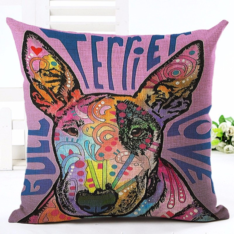 Ny Ankomst farverig Cute Bull Terrier Pude Sofa Kaste Pudebetræk Home Decor Cojines Cotton Linen Square Trykt Almofadas