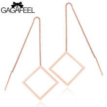 GAGAFEEL Hanging Earrings Jewelry Earring Vintage Simple Female Long Tassel Square Rose Golden Stainless Steel Women Gifts