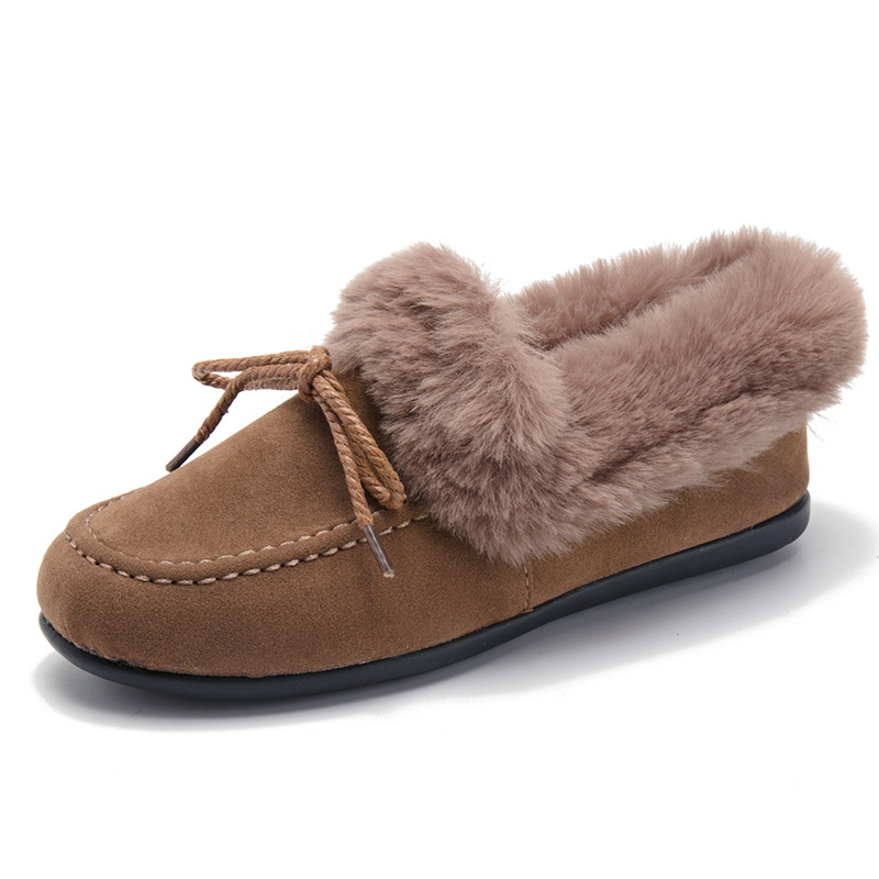 D'hiver Hiver Pour Bout Chaussures Femme gris Zapatos Femmes chocolat De Dames Lady Sur Noir Conduite Talon Décontracté Mujer Rond Slip Fourrées Plats Mocassins 0qxwSS