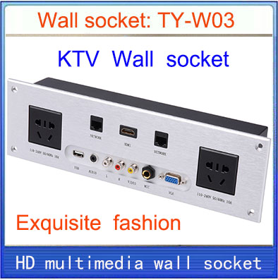 wall socket \ HD HDMI \ VGA USB NETWORK  RJ45 Video information outlet panel /multimedia home hotel rooms KTV wall socket TY-W03 information searching and retrieval