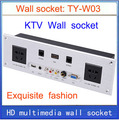 wall socket \ HD HDMI \ VGA USB NETWORK  RJ45 Video information outlet panel /multimedia home hotel rooms KTV wall socket TY-W03