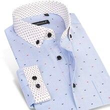 Caiziyijia 2017 männer fischgräte gedruckt langarm kleid shirts patchwork manschette comfort soft casual slim fit taste-down shirts