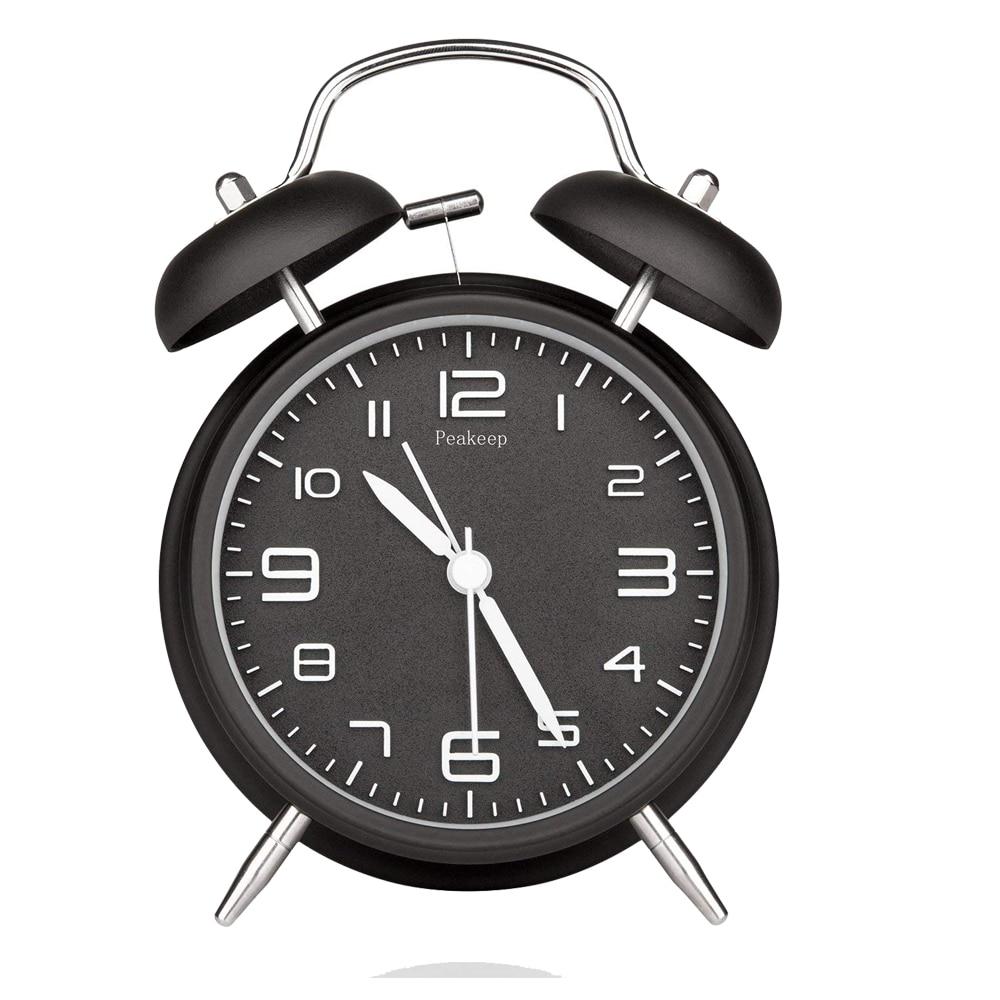 Alarm Clock Kids Home Decor Non-Ticking Retro Vintage Twin Bell Desk Bedside Alarm Clock Antique Clock Decoration Accessories