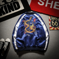 Embroidery Dragon Bomber Jacket Men Jacket Streetwear Hip Hop Baseball Jacket
