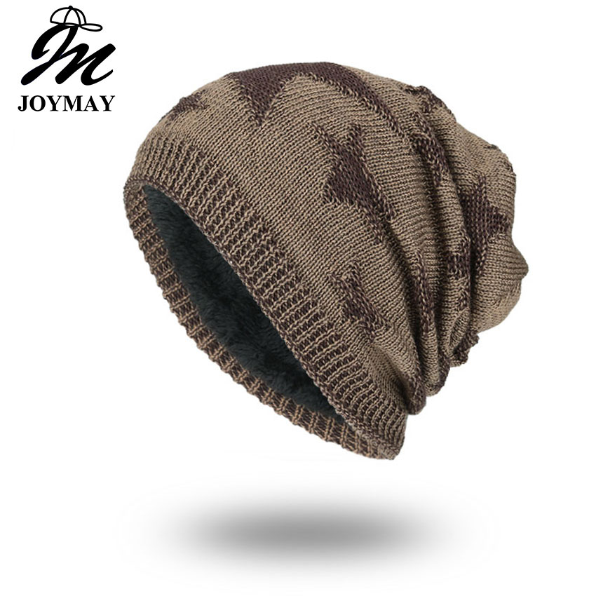 цена на Joymay 2017 Winter Autumn Beanies Hat Unisex Star Warm Soft Skull Knitting Cap Hats Touca Gorro Caps For Men Women WM056