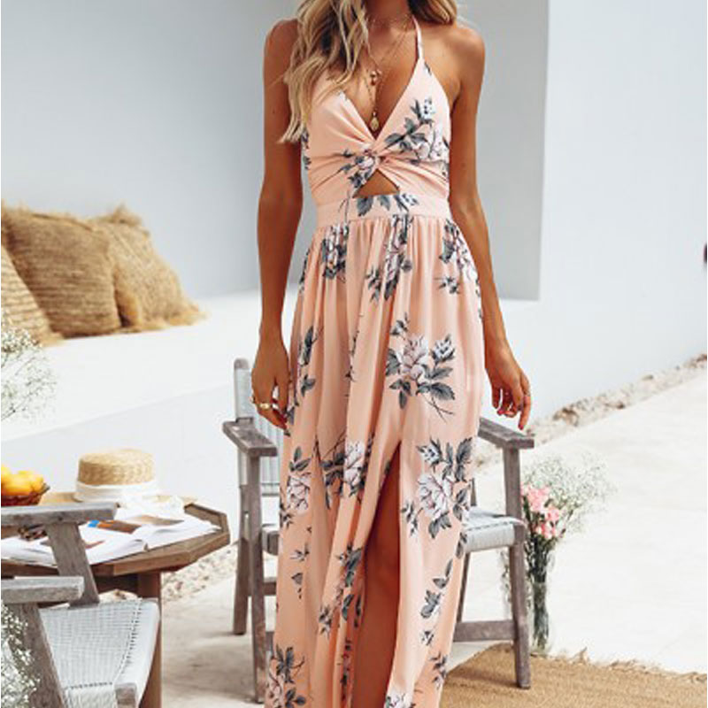 Sexy Long Beach Dress Maxi Dresse Women Halter Backless Floral Printed Female Casual Dress Fashion Vacation Vestidos Verano 2019 image