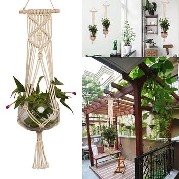 De Interior Al Aire Libre De La Mano De Punto Jardinera Colgante - Jardinera-interior