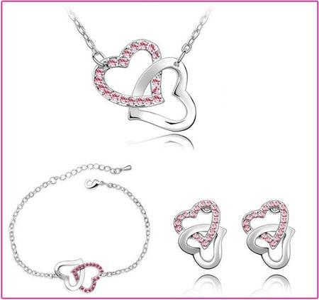 dubbele hart Tsjechische AAAA + steentjes mode ketting oorbellen - Mode-sieraden - Foto 4