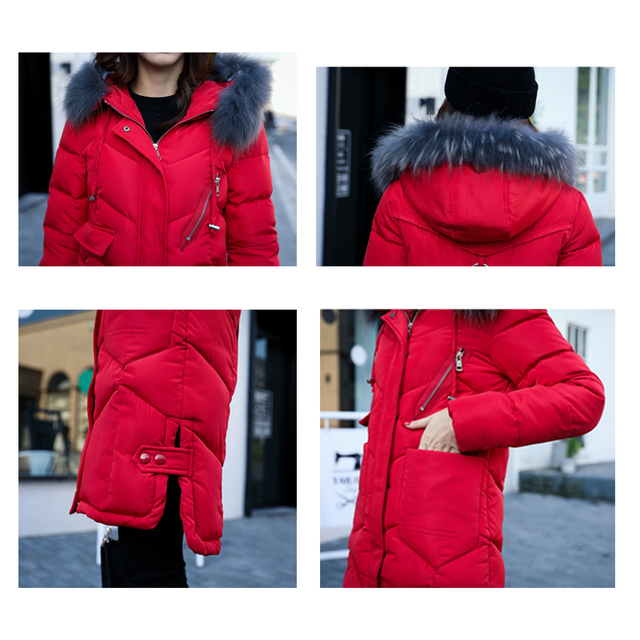 Women Hooded Winter Coat Fur Collar