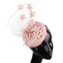 Высокое качество 4-секционный измельчитель для специй с sinamay для торжественного случая; элегантные женские шляп шляпы с цветочным принтом вуали головные уборы модные новые свадебные замуж Шапки