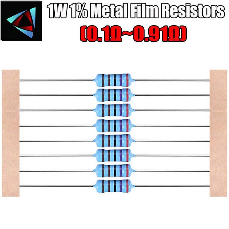 20pcs 1W 1% filme De Metal resistor de 0.1 0.12 0.15 0.18 0.2 0.22 0.24 0.27 0.3 0.33 0.39 0.47 0.5 0.56 0.62 0.68 0.75 0.82 0.91 ohm