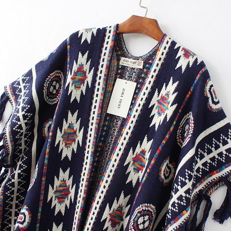 Žene 3 boje Aztec dugi kardigan Vintage Geo Uzorak rese Pleteni - Ženska odjeća - Foto 4
