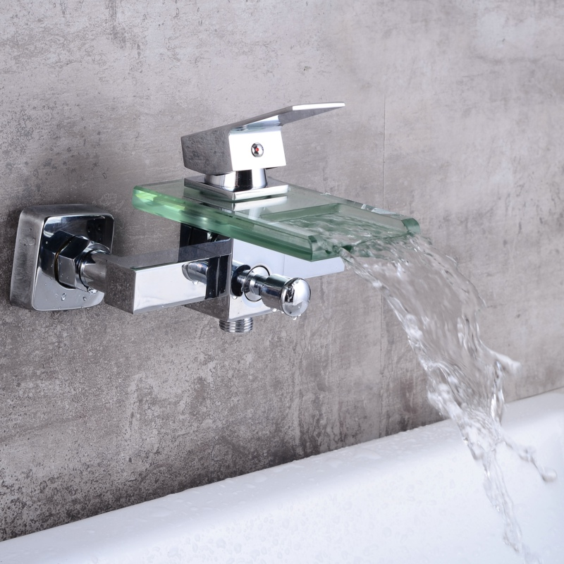 Livraison gratuite salle de bains en laiton chrome mitigeur cascade verre baignoire robinet mural bassin robinet LH-8044Livraison gratuite salle de bains en laiton chrome mitigeur cascade verre baignoire robinet mural bassin robinet LH-8044