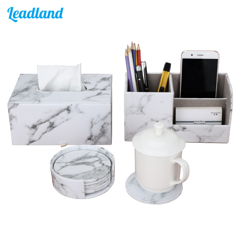 Office Supplies Marble PU Leather Desk Organizer Sets Pen Holder Storage Box Tissue Box Cup Coaster 3 Pcs/Set New Arrival