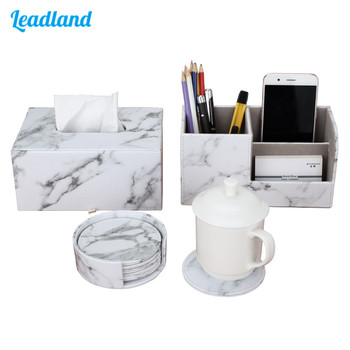 Office Supplies Marble PU Leather Desk Organizer Sets Pen Holder Storage Box Tissue Box Cup coaster 3 pcs/set New Arrival цена 2017