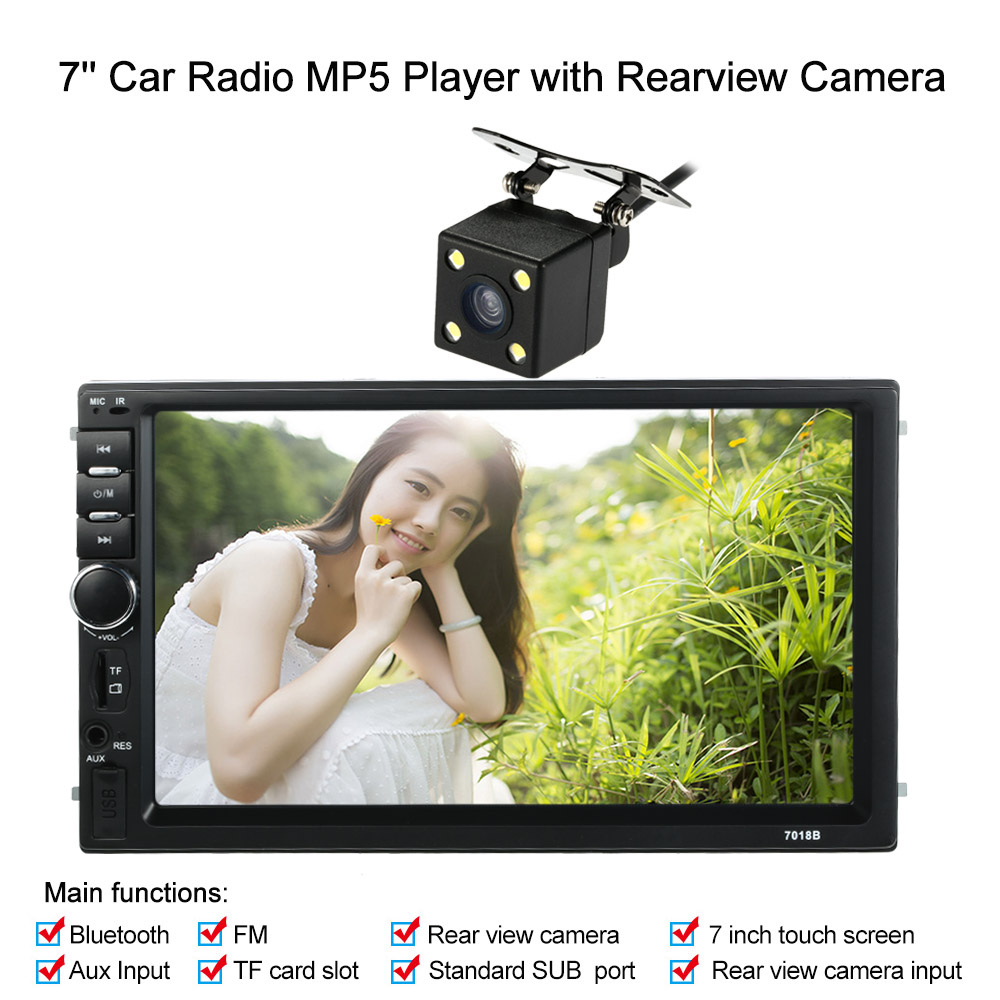 KKmoon 7'' 2 Din Universal Bluetooth Car Stereo FM Radio MP5 DVD Player Touch Screen USB/TF Aux Input with Rear View Camera картридж t2 ic h110 голубой