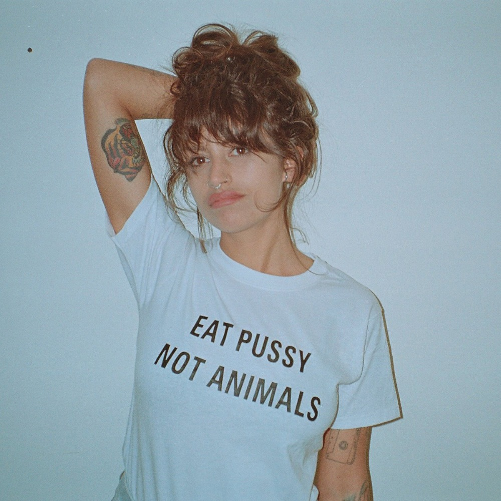 Harajuku Eat Pussy Not Animals Print Cotton T Shirt Tees Womens Graphic Tee Logo T Shirt Girls Printed Top Ootd Hipster