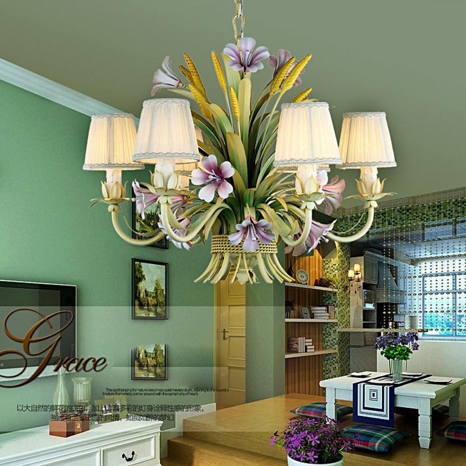 led e14 European Iron Fabric Flower Shaped LED Lamp LED Light.Pendant Lights.Pendant Lamp.Pendant light For Dinning Room Foyer