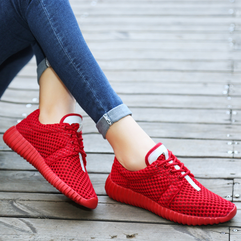 Summer 2019 Women Casual Shoes Mesh Fashion Sneakers Solid Lace Up Breathable Shallow Ladies Shoes Platform Shoes Soft Bottom in Women 39 s Flats from Shoes