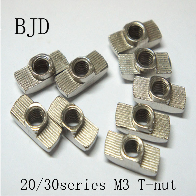 50Pcs 20/30 Series M3 3mm Hammer Nut Aluminum Connector T Fastener Sliding Nuts Nickel Plated Carbon Steel for Aluminum Profile