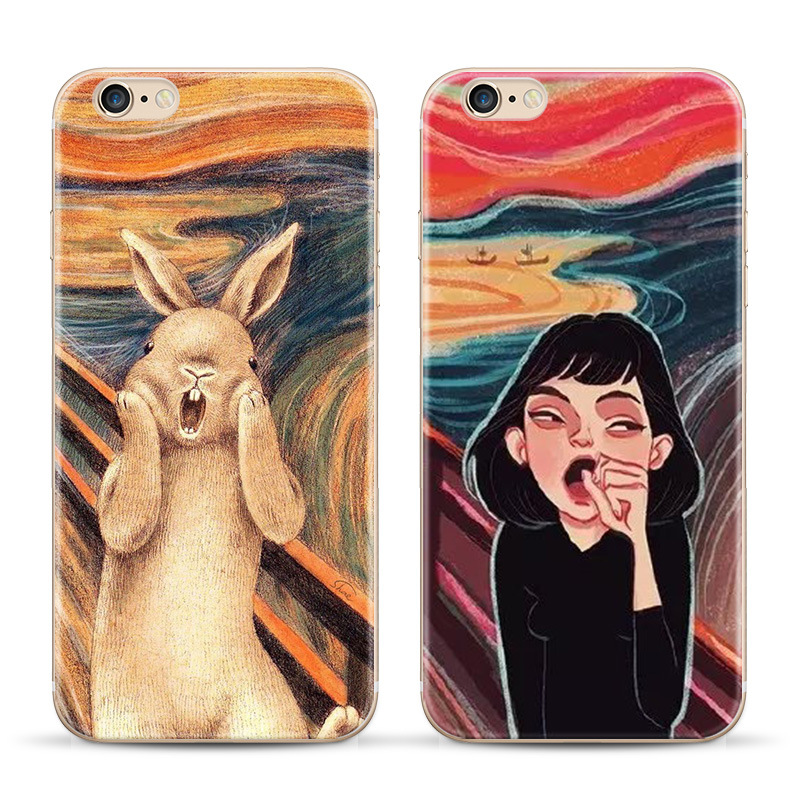 Scream canvas phone case Phone case for Apple iphone 6 case 4.7 inch spoof 6plus painting PC hard shell case