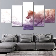 Predator Wolf Abstract Art Painting Snow Mountain Landscape 5 Piece Style Picture Canvas Print Type Decorative Wall Poster цена в Москве и Питере