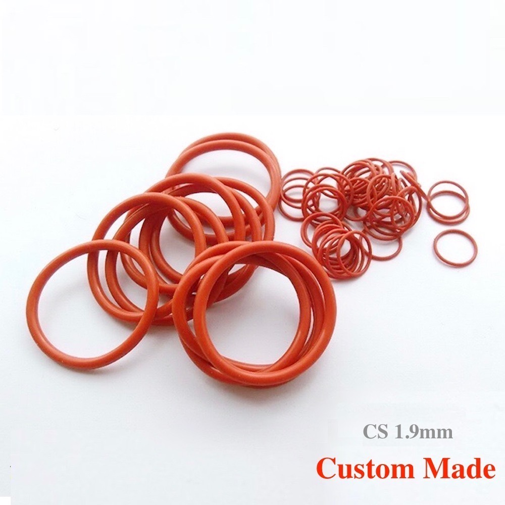 100x VMQ O Ring Silicon Rubber Seal Gasket CS 1.9mm <font><b>x</b></font> OD 5 6 <font><b>7</b></font> <font><b>8</b></font> 9 10 <font><b>11</b></font> 12 <font><b>13</b></font> 14 15 16 18 20 30 40 58 60 61 66 67 69 70mm Red