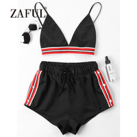 ZAFUL Beach Romper Bra Striped Tracksuit Women Cover Up Bra Color Block Romper for Women Drawstring Flat Spaghetti Straps Romper