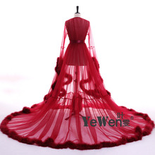 YeWen Vestido de festa Robe De Soiree V Neck Feather Long Sleeve Tulle Party Evening Dresses 2018 Burgundy pink prom dresses