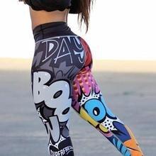 Для женщин мультфильм 3D принт Йога Леггинсы для занятий фитнесом штаны обтягивающая высокоэластичная обтягивающая Бедро спортивные брюки для бега дышащие леггинсы