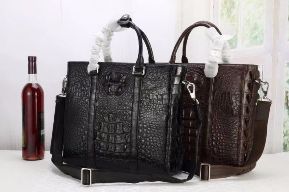 100% Genuine Real Crocodile Leather Head Skin Men Business Bag Laptop Bag Brefcase Leisure Style Long Leather Strap Men Bag