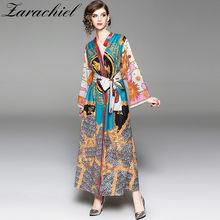 54bf12263f 2019 las mujeres otoño Kimono noche Maxi Vestido de manga larga Retro patrón  impreso mujer elegante vestidos de fiesta traje de .