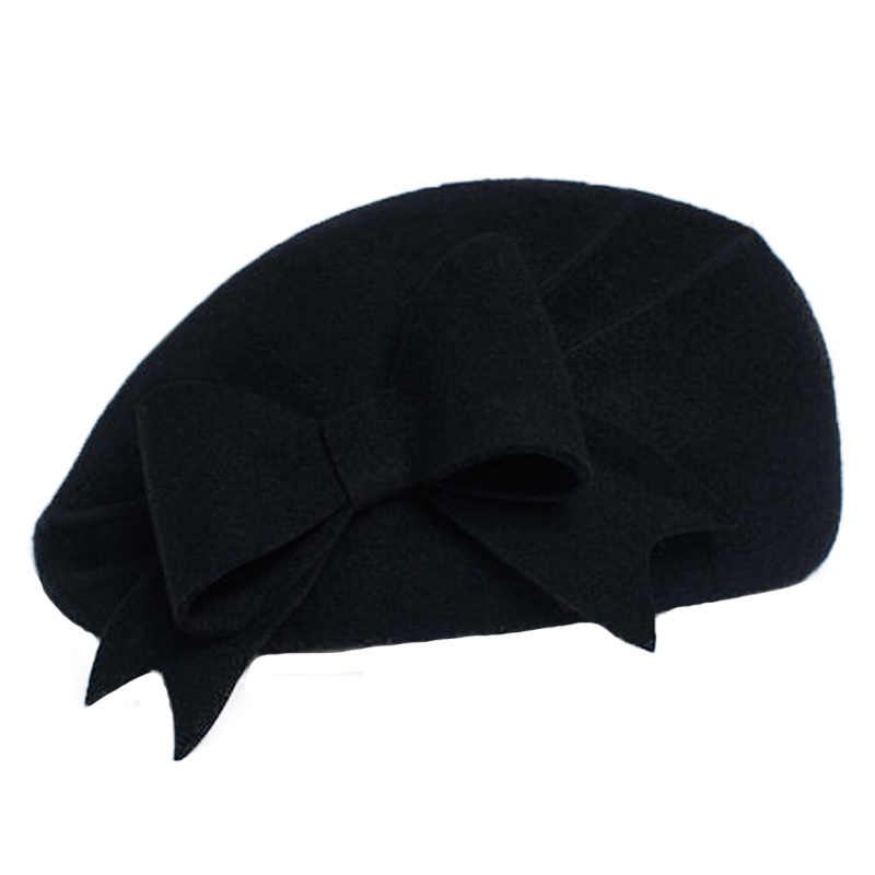 52459e8ae FS Lady Black White Wool French Beret Hat For Women Autumn Winter Vintage  Fascinator Bowknot Felt Flat Brim Fedora Hats