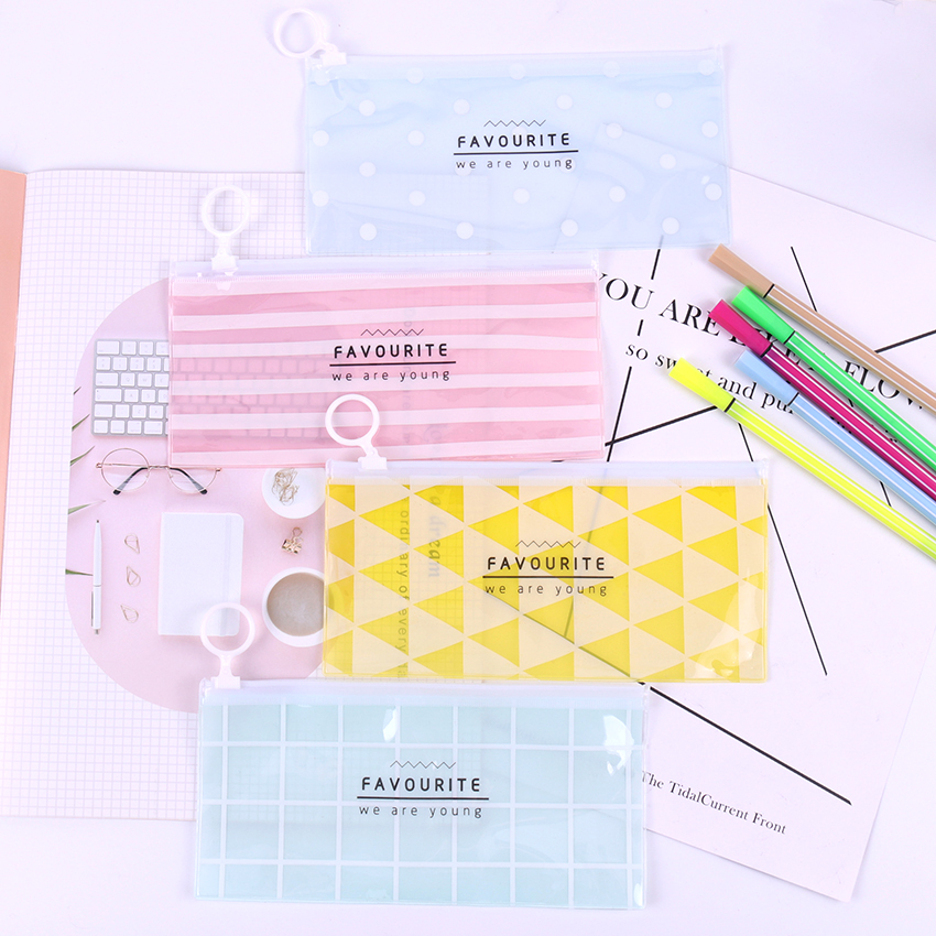 Translucent Pencil Case Waterproof PVC School Supplies Stationery Gift Pencilcase School Cute Pencil Bags School Tools