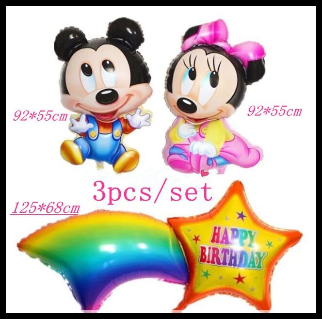1 piece mouse cartoon balloon +125*68cm star rainbow balloons birthday balloon f