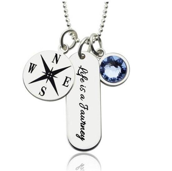 Кавычки Выпускной Jewelry Для женщин гравировкой Компасы бар Цепочки и ожерелья с Камень