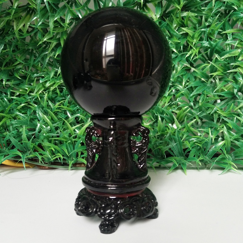 60/70/80mm Natural Obsidian Crystal Ball Home Decoration Ball Diviner Circular Stone Ball Wedding Photography Accessories