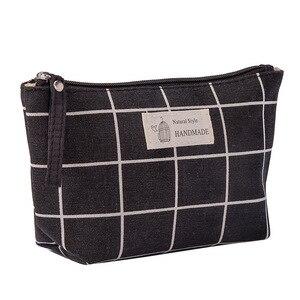 New Women Plaid Travel Cosmetic Bag Makeup Bag Handbag Female Zipper Purse Small Cosmetics Make Up Bags Travel Beauty Organizer(China)