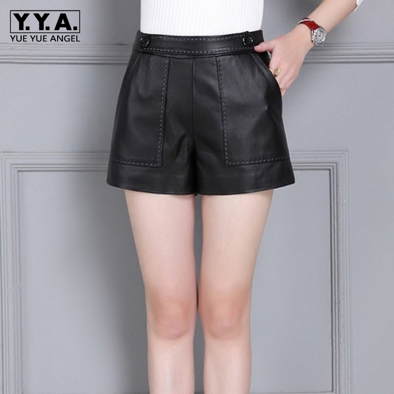 Genuine Leather Shorts Women Sheepskin Slim Fit High Waist Wide Leg Short Pants Plus Size 4XL Autumn Casual Black Red Shorts
