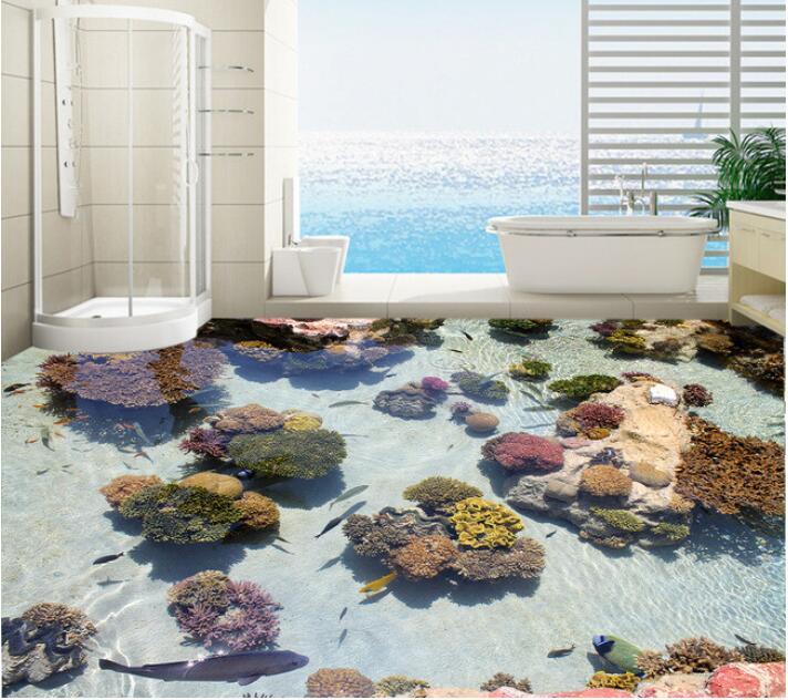 3 d pvc flooring custom of 3d bathroom flooring wall paper  Coral sea tropical fish 3 d flooring 3d wall murals  wallpaper корм tetra tetramin xl flakes complete food for larger tropical fish крупные хлопья для больших тропических рыб 10л 769946